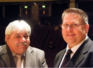 Adjudicator Stan Lippeat and Band contest secretary Colin Burnett after the results at The Guild Hall